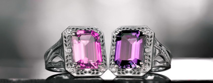 Pink Sapphire....Purple Amethyst....these Unique Designs can be created with ANY type of Precious Gem!!